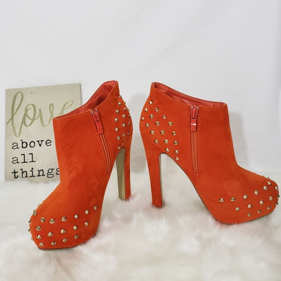 b26177ab73b Delicacy Shoes - Burnt Orange Gold Spike Studded Heeled Booties